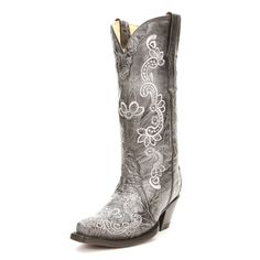 Corral Black Flowers Cowgirl Boots