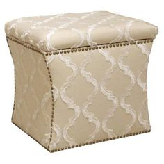 Check out this item at One Kings Lane! Hepburn Storage Ottoman, Cream/White