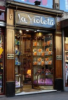 La Violeta, sweets and candies, Canalejas Square, Madrid, Spain Storefront Signs, Shop Facade, Cafe Bistro, Lovely Shop, Store Windows, Shop Fronts, Window Dressings, Shop Around, Shops
