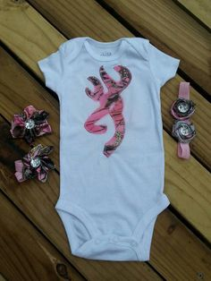 Check out this item in my Etsy shop https://www.etsy.com/listing/206332773/pink-camo-deer-onesie-hairbow-and