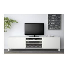 "BESTÅ TV bench with drawers - Lappviken white, drawer runner, push-open, 70 7/8x15 3/4x18 7/8 "" - IKEA"