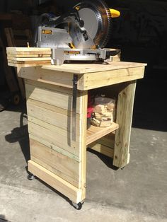 Miter saw stand made from scrap wood.