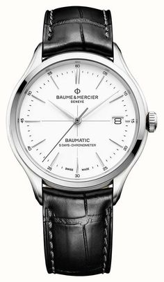 Discover the Clifton Baumatic 10436 white dial & black alligator strap watch for men with automatic movement, designed by Baume et Mercier, Manufacturer of Swiss Watches Swiss Army Watches, Mechanical Watch, Automatic Watch, Watches For Men, Men's Watches, Dress Watches, Nice Watches, Fashion Watches, Luxury Watches