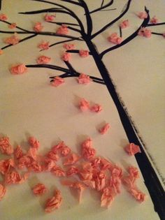 Make your own Japanese Cherry Blossom - quick and easy and a great #crafts project for little fingers! Full post on indieberries.blogspot.com