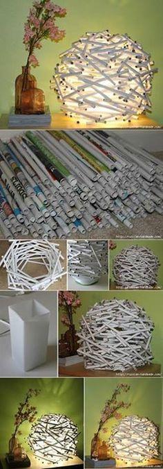 Diy lampara reciclada pero mejor todos los rollitos alineados para abajo