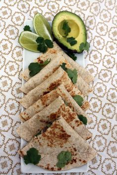 Black Bean Spread Goats Cheese Avocado and Cilantro Quesadillas