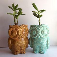 Ceramic Tiki Owl Planter Vintage Design in Aqua by fruitflypie. $39.99 USD, via Etsy.