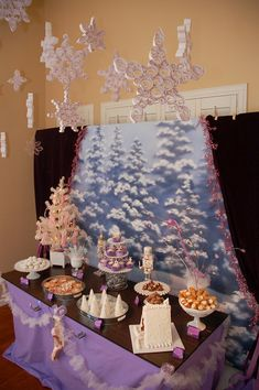 Sugar Plum Fairy birthday party. @Elizabeth Hurley wouldn't this be cute for Rowan? Too bad her birthday's in July :) Maybe a half-birthday?
