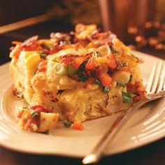Bacon & Cheddar Strata - You could substitute or just add sausage or ham to this.