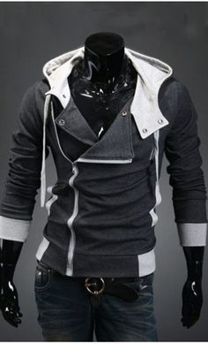 Double Layered contrast hoodie with inclined zipper and contrast hood restocked in Charcoal S-XL