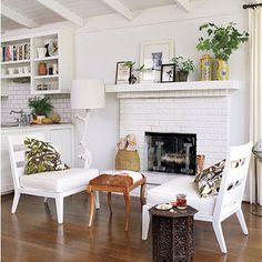 Offener Kamin, Kamine, Weiße Ziegel Kamine, Bemalte Kamine, Kamin Umgibt,  Innere, White Fireplace, Cottage Fireplace, Simple Fireplace