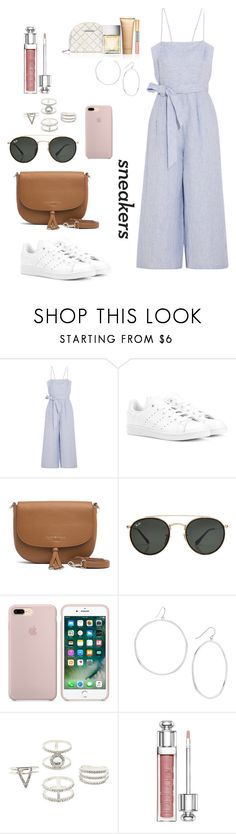 """White sneakers"" by holychicro ❤ liked on Polyvore featuring J.Crew, adidas Originals, Tommy Hilfiger, Ray-Ban, Gorjana, Charlotte Russe, Christian Dior and Michael Kors"