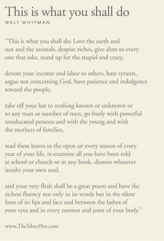 "Walt Whitman ""...and your very flesh shall be a great poem..."""