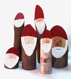 Painted Log Santas, Set of 6 by Collin Garrity on Scoutmob