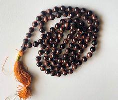 Red Tiger Eye Gemstone Prayer Beads, 108 Mala Beads, 6.5mm Yoga Beads, Meditation Beads, Rosary Bead, Healing Beads, Japp Mala - ANT109