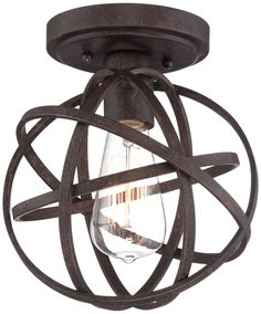 "Industrial Atom 8"" Wide Edison Bronze Ceiling Light -"