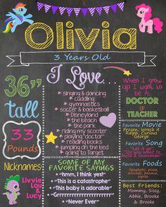My Little Pony Birthday Chalkboard / My Little by AudreyEdesigns