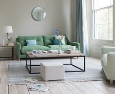 This slim-armed beauty is just the ticket for tight spaces. An uber-comfy sofa that you can sit in rather than on. I love the green, it's so fresh! Living Room Sofa, Home Living Room, Living Room Designs, Living Room Decor, Living Spaces, Living Area, Small Living, Pallet Furniture, Furniture Makeover