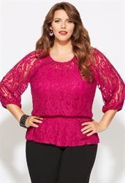 Plus Size Crochet Lace Peasant Top image