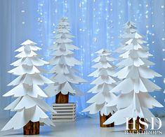 White Paper Trees Photography Backdrop Christmas P Christmas Stage, Christmas Photo Props, Christmas Program, Office Christmas, Blue Christmas, Christmas Pictures, Christmas Crafts, Christmas Parties, Christmas Trees