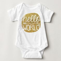 Onesie - Hello World Onesie - Gold Glitter White Short Sleeve