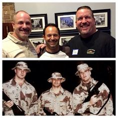 Philips, Cortese, and Campbell, 2015 Gulf War Ammo Company Reunion, 11/11/2015 and 25 years ago #marinecorps #semperfi #marines #thenandnow