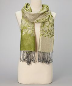 Take a look at this Green & Gray Floral Fringe Pashmina-Silk Blend Scarf by Italmode on #zulily today!