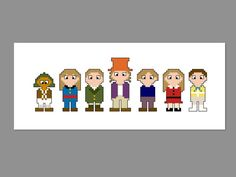 Willy Wonka Pixel People Character Cross Stitch PDF PATTERN ONLY Theater Room Decor, Stitch Movie, Disney Cross Stitch Patterns, Willy Wonka, Perler Patterns, Pearler Beads, Plastic Canvas Patterns, Beading Patterns, Tapestry