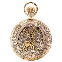 Waltham Tricolor Gold Elk Covered Case Pocket Watch | From a unique collection of vintage pocket watches at https://www.1stdibs.com/jewelry/watches/pocket-watches/