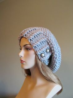 Oversized Slouchy Beanie Slouch Hats Baggy Beret Buttons womens spring accessory Blue Grey Super Chunky Hand Made Knit. $39.99, via Etsy.