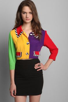 Vintage lovers check out this Colourblock '80s cropped blazer from @urbanoutfitters