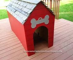 cardboard dog house - Google Search Would be easy to translate this to using wood instead of cardboard