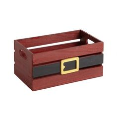 Santa Belt Wood Plank Storage Crate - Christmas Tree Shops and That! - Home Decor, Furniture & Gifts Store Christmas Eve Crate, Christmas Tree Storage, Snoopy Christmas, Christmas Porch, Christmas Store, Christmas Decorations, Xmas, Crate Decor, Gift Crates