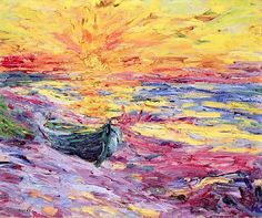Emil Nolde - Sunset 1909 Emil Nolde was a German painter and printmaker. He was one of the first Expressionists, a member of Die Brücke, and is considered to be one of the great oil painting and watercolour painters of the 20th century.
