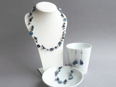 Navy Blue Necklace Bracelet Earrings Jewelry Set