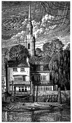 John Bryce: The Prospect of Whitby, wood engraving. We purchased one of his prints in our honeymoon. We love it.