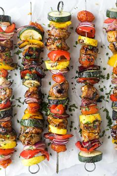 These juicy Balsamic Grilled Chicken Kabobs are the BEST kabobs you will ever have! Tender chicken marinated in a sweet balsamic sauce then grilled with vegetables for a healthy dinner recipe you can't beat. It's a summer grilling must! Balsamic Grilled Chicken, Grilled Chicken Kabobs, Chicken Kabob Recipes, Kebab Recipes, Chicken Flavors, Grilling Recipes, Chicken Kebab, Healthy Grilling, Grilled Veggies