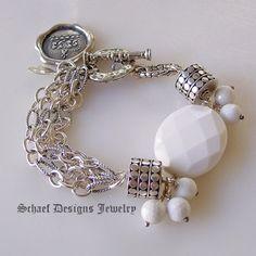 Schaef Designs designer white agate, sterling silver figaro chain & armadillo dot bead multi strand bracelet   New Mexico
