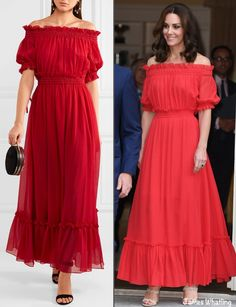 I mentioned fashion diplomacy because red is one of Germany's national colors; it is also a color that is flattering on the Duchess. Additionally, the McQueen dress is somewhat reminiscent of a classic Bavarian dirndl, perhaps another nod to the host country.