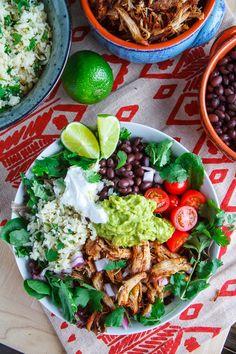 Chicken Carnitas Burrito Bowl with Cilantro Lime Cauliflower Rice (cilantro, lime, cauliflower, avocado, orange, lime, garlic, tomato, onion, tomatillo, jalapeno, lettuce)