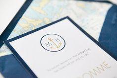 Meriteemaiset modernit hääkutsut / Custom made nautical wedding invitations by www.makeadesign.fi