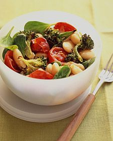 A lunchtime bowl includes white beans and broccoli, two foods high in fiber, which can lower cholesterol and may help prevent type-2 diabetes. Tomatoes bring lycopene to the substantial salad. The ingredients can be prepared the day before and refrigerated.    Return to Healthy Lessons in Lunch Menu.