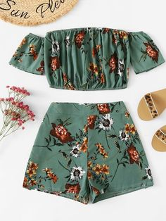 Off Shoulder Floral Top With Shorts