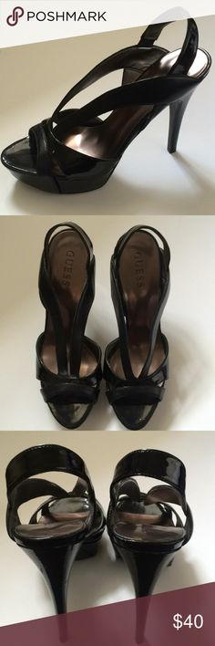 Super cute black Guess heels! Super cute black leather /patent leather heels.  Size 8m. In good condition. Slight wear on heels and left toe. Great for night! Would go great with pink and black guess dress that I have listed in my closet! Guess Shoes Heels