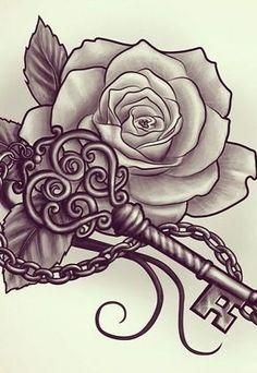 tattoo designs rose tattoos and key tattoos. Key Tattoo Designs, Tattoo Sleeve Designs, Tattoo Designs For Women, Sleeve Tattoos, Tattoo Sleeves, Tattoo Creator, Trendy Tattoos, Cool Tattoos, Tattoo Muster