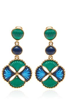 Two-Tone Cabochon Drop Clip Earrings by Oscar de la Renta Now Available on Moda Operandi