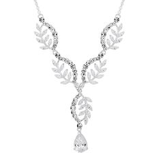 Alan Hannah Devoted Curved Leaf Y Drop Necklace