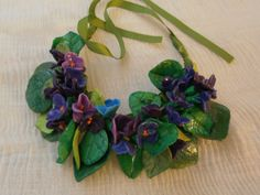 PURPLE Violets and leaves in resin scent of spring by PaTrieste