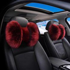 Genuine Sheepskin Fur  Bow Shaped Warming Car Seat Headrest Pillow