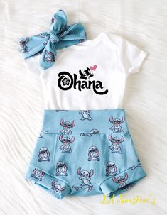 Baby Announcement Discover Lilo and Stitch Theme Baby Leggings, Baby Shorts, Cute Baby Girl Outfits, Toddler Outfits, Kids Outfits, Baby Girl Themes, Baby Girl Shirts, Summer Outfits, Unisex Baby Clothes